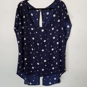 TORRID blue and white polka dot sheer top